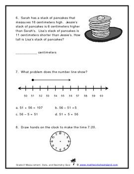 Grade 2 Measurement, Data, and Geometry Quiz