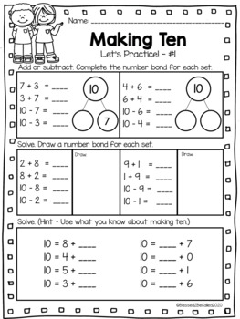 2nd Grade Module 1 Lesson 1 Supplemental Worksheets - Making Ten / Adding to Ten