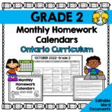 Grade 2 Homework Calendars 2018-2019 (Editable)