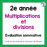 Grade 2 Multiplication & Division Test (French)