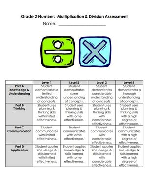 Grade 2 Multiplication and Division Assessments