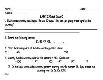 Grade 2 NBT Math Quick Quizzes