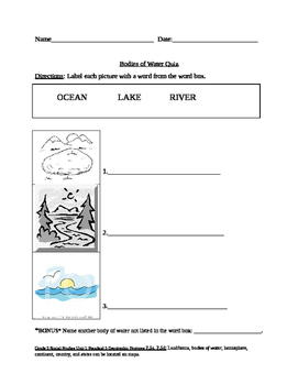 Grade 2 NYC DOE Unit 1 Geography Topic: Bodies of Water Portfolio Piece