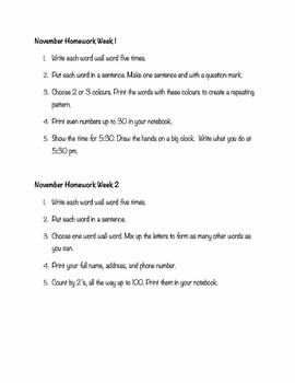Grade 2 November Weekly Homework