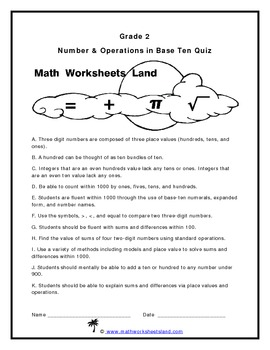 Grade 2 Number & Operations in Base Ten Quiz
