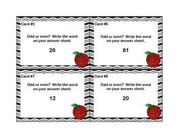 Grade 2- Odd and Even Numbers-Back to School Math Task Cards