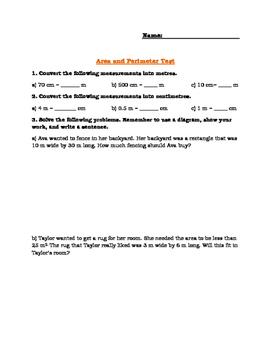 Grade 2 Ontario Curriculum Area and Perimeter Test