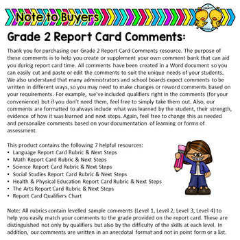 sample grade 2 report card comments  Grade 7 Ontario Report Card Comments