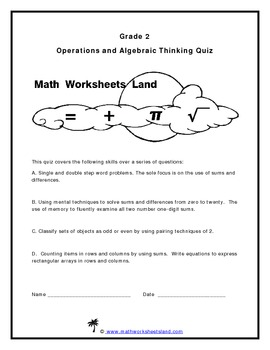 Grade 2 Operations and Algebraic Thinking Quiz - Core Aligned