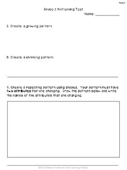 Grade 2 Patterning Test