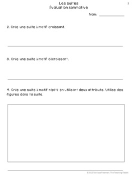 Grade 2 Patterning Test (French)