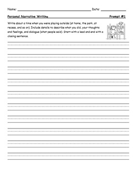 Grade 2 Personal Narrative Writing Prompts - With Rubric