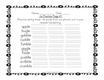 Grade 2 Phonics Practice Pack - LE words