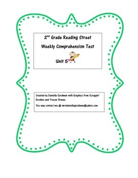 Grade 2 Reading Street 2013 Weekly Story Tests Unit 5