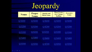 Grade 2 Reading Street Grammar Review Jeopardy-Style Game
