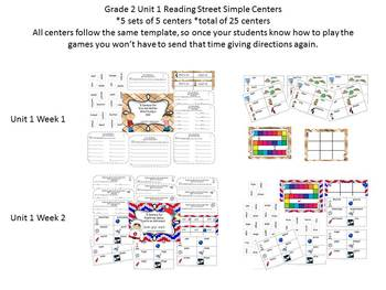Grade 2 Reading Street Simple Centers Unit 1 Bundled set