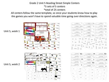 Grade 2 Reading Street Simple Centers Unit 5 Bundled set