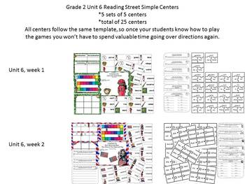 Grade 2 Reading Street Simple Centers Unit 6 Bundled set