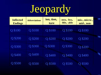 Grade 2 Reading Street Unit 6 Phonics Review Jeopardy