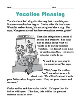 Grade 2 Common Core Reading: Vacation Planning