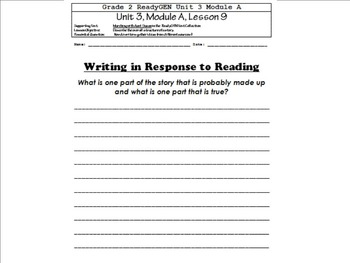 Grade 2 ReadyGEN: Unit 3, Module A - All Graphic Organizers & Writing Prompts