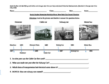 Grade 2 SS: NYC Transit Timeline Portfolio, Rubric, and BB Task Card