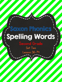 Grade 2 Saxon Phonics Spelling Lists Lessons 36-74