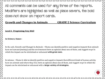 Grade 2 Science Report Card Comments, ALL 3 TERMS!