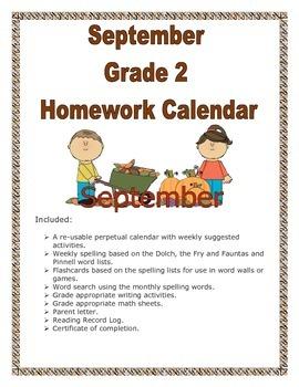 Grade 2 September Homework Calendar