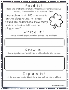 Grade 2-Set 12-Read It! Write It! Draw It! Explain It! - St Patty's & Easter