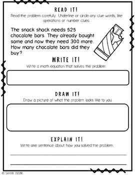 Grade 2-Set 13-Read It! Write It! Draw It! Explain It! - 3 Digit Add & Subtract