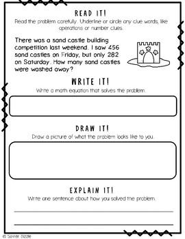 Grade 2-Set 18-Read It! Write It! Draw It! Explain It! - Summer 3 Digit