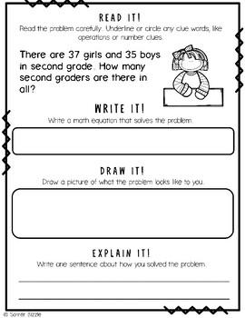 Grade 2-Set 8-Read It! Write It! Draw It! Explain It! - 2 Digit Addition