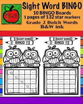 Grade 2 Sight Word BINGO B&W ink (Daycare Support by Prisc