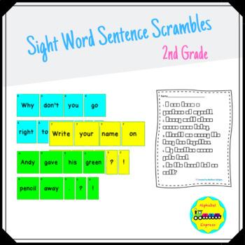 Grade 2 Sight Word Sentence Scrambles Full Version