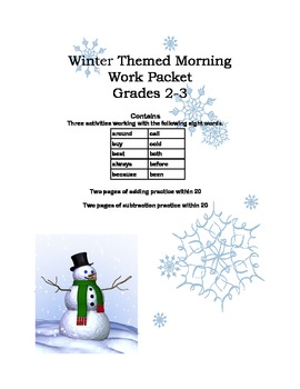 Grade 2- Sight Words and Math Practice Printable Worksheets Winter Themed