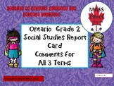Grade 2 Social Studies Report Card Comments, ALL 3 TERMS!