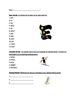 Grade 2 Spelling List Week 5
