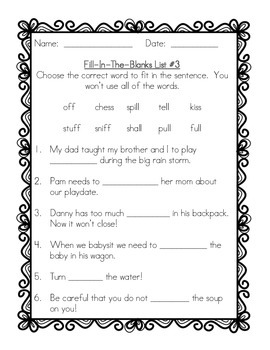 Grade 2 Spelling Practice for the Whole Year  - Fill-In-The-Blanks