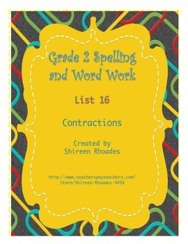 Jigsaw Grade 2 Spelling and Word Work List 16 (Contractions)