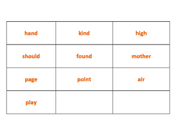 Grade 2 Spelling list flash cards in groups
