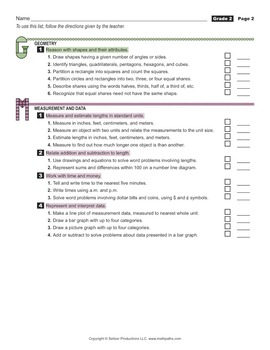 Grade 2 Student's 2-Page Checklist of Math Goals for CCSS