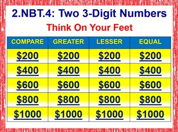 Grade 2 THINK ON YOUR FEET MATH! 2.NBT.4 Interactive Test Prep Game: < or > or =