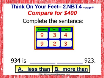 2.NBT.4 Interactive Test Prep Game - Jeopardy 2nd Grade Math: < or > or =