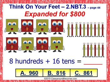 Grade 2 THINK ON YOUR FEET MATH! Interactive Test Prep Game—Number Forms 2.NBT.3