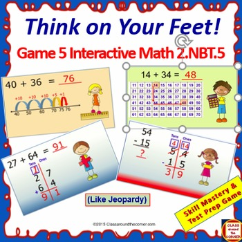 Grade 2 THINK ON YOUR FEET MATH Interactive Test Prep Game:  Within 100 2.NBT.5