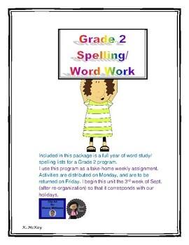 Grade 2 Take Home Word Work / Spelling Program