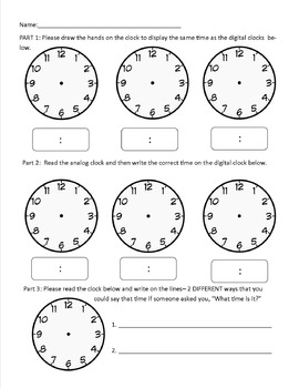 grade 2 telling time assessment by jessica adamovich tpt. Black Bedroom Furniture Sets. Home Design Ideas