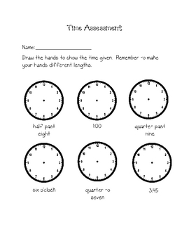 grade 2 telling time assessment by my teaching heart tpt. Black Bedroom Furniture Sets. Home Design Ideas