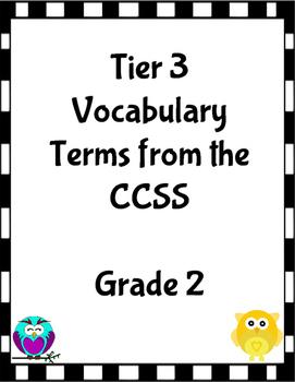 Grade 2 Tier 3 Vocabulary Terms CCSS